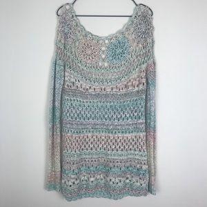 Free People Crochet Multicolored Long Sleeve Top